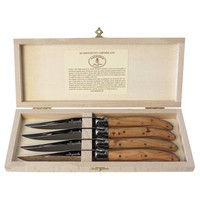 Laguiole 4 Steak Knives 2.5 mm Juniper in Box