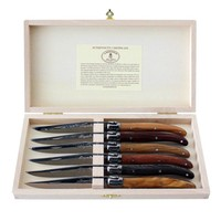 Laguiole 6 Steakmesser 2,5 mm in Kiste Verschiedene Holzarten