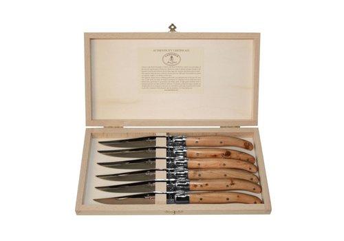 Laguiole Laguiole 6 Steakmesser 2,5 mm Wacholder in Kiste