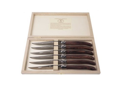 Laguiole Laguiole 6 Steakmesser 2,5 mm Palisander in Kiste