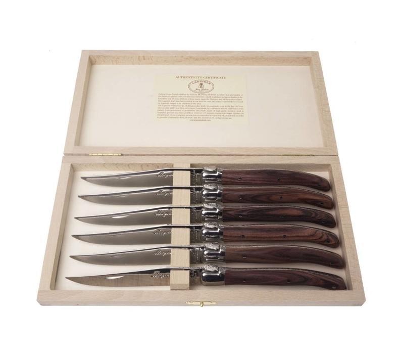 Laguiole 6 Steakmesser 2.5mm Rosewood in Kiste