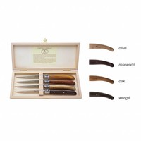 Laguiole 4 Steak knives 2.5 mm Mixed Wood in a box
