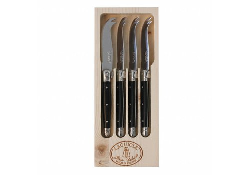 Laguiole Laguiole 4 Small Cheese Knives Black in Display