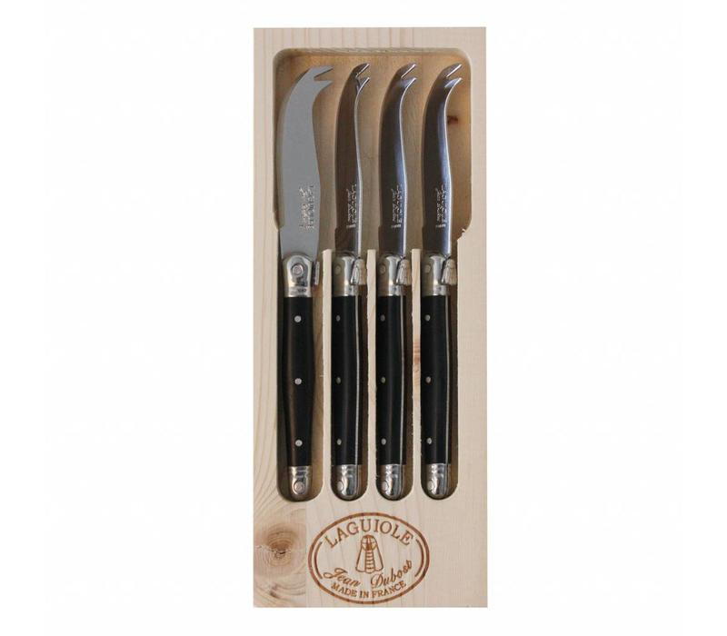 Laguiole 4 Small Cheese Knives Black in Display
