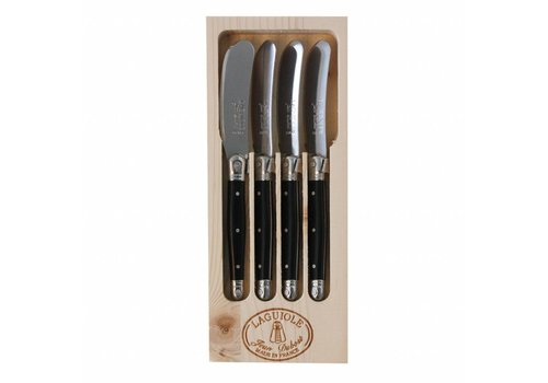 Laguiole Laguiole 4 Butter Knives Black in Display