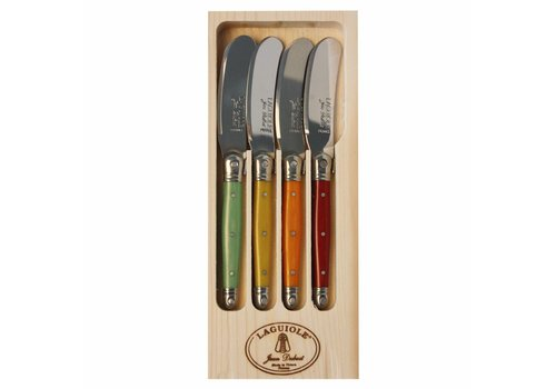 Laguiole Laguiole 4 Butter Knives Fruity Mix in Display