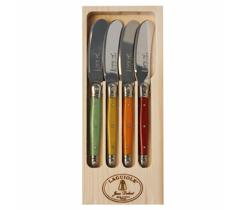 Laguiole 4 Butter Knives Fruity Mix in Display