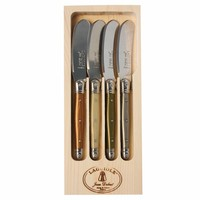 Laguiole 4 Butter Knives Mineral Mix in Display