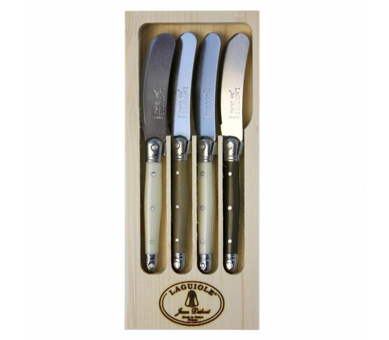 Laguiole 4 Butter Knives Linen Mix in Display