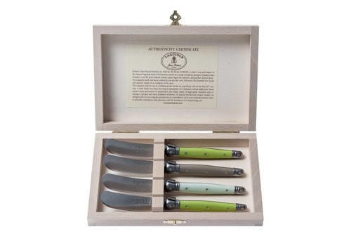 Laguiole Laguiole 4 Small Butter Knives Botanic Mix in Box