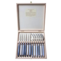 Laguiole 6 Steakmesser 2,5mm & 6 Gabel Nordic Mix in Kiste