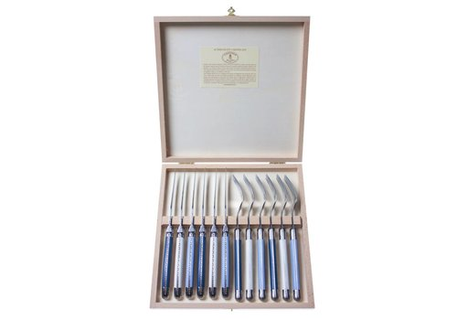 Laguiole Laguiole 6 Steakmesser 2,5mm & 6 Gabel Nordic Mix in Kiste