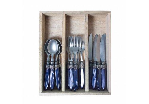 Murano Murano Blau Frühstückbesteck 18-teilig in Holzkassette