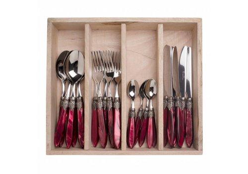 Murano Murano 24 Piece Cutlery Set Burgundy
