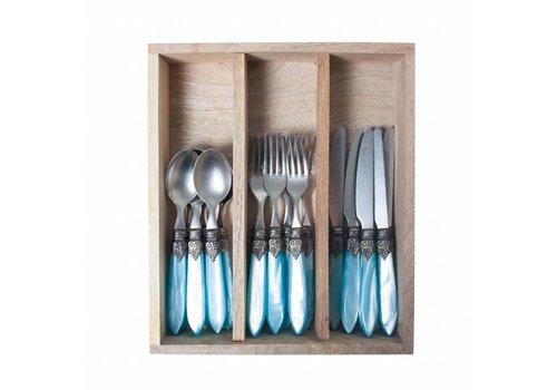 Murano Murano Turquoise Frühstückbesteck 18-teilig in Holzkassette
