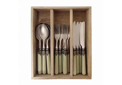 Vintage Vintage Breakfast Cutlery (18-pieces) Grass in Wooden Tray