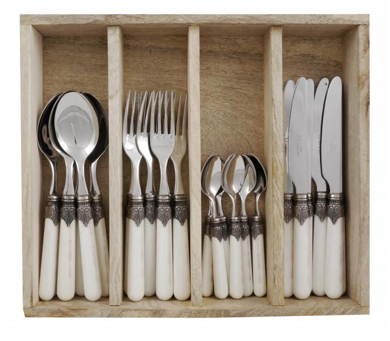 """Vintage 24-teiliges Besteck """"Elfenbein"""" in Box"""