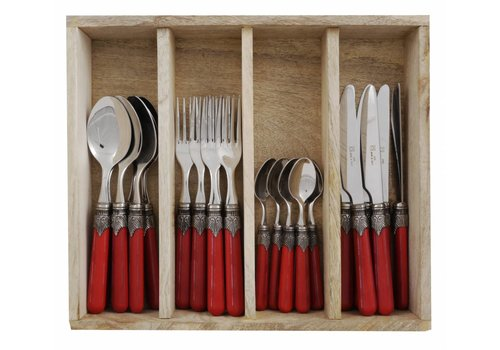 Vintage Vintage 24 Pcs Cutlery Set Red in Wooden Tray