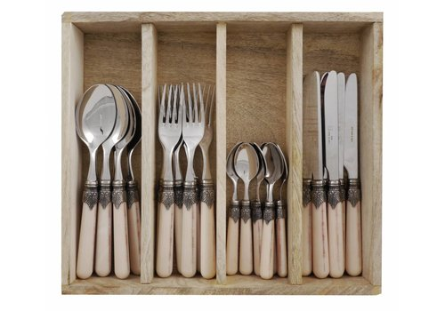 Vintage Vintage 24 Pcs Cutlery Set, Sand in Wooden Tray