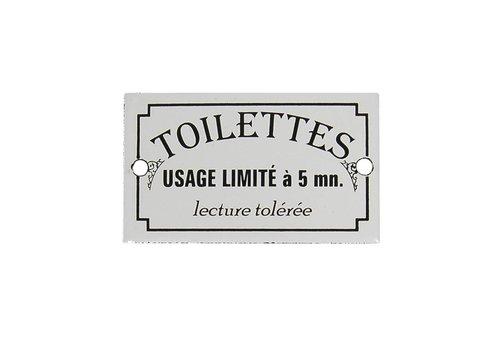 Au Bain de Marie Au Bain de Marie door plate 'Toilettes usage limité', enamelled iron