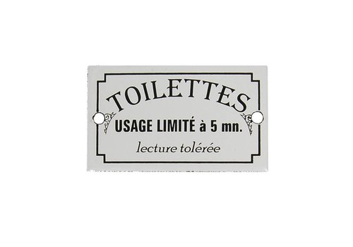 Au Bain de Marie Au Bain de Marie Türplakette 'Toilettes usage limité', Eisen emailliert