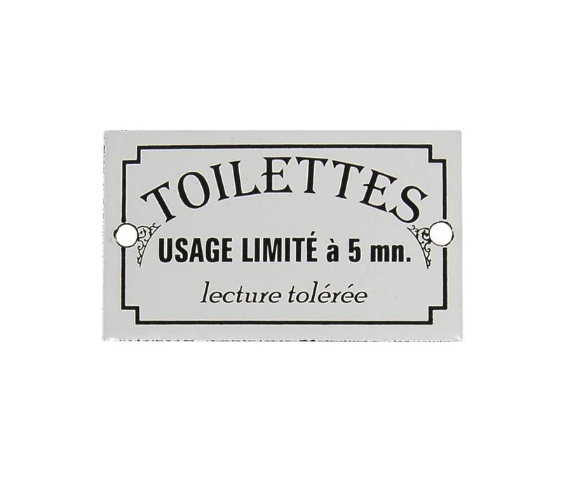 Au Bain de Marie door plate 'Toilettes usage limité', enamelled iron