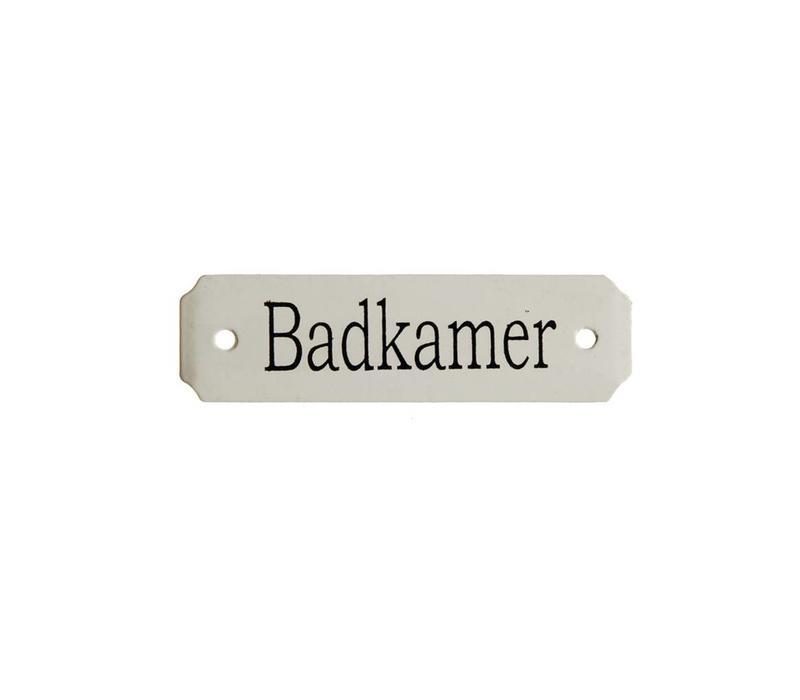 Au Bain de Marie Rechteckiges Schild 'Badkamer', Eisen emailliert
