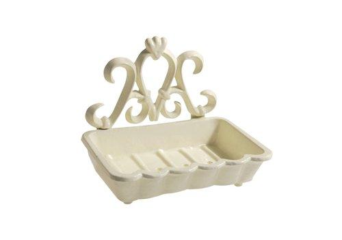 Au Bain de Marie Au Bain de Marie large soap dish 15x11xH12 cm, aluminum, creme
