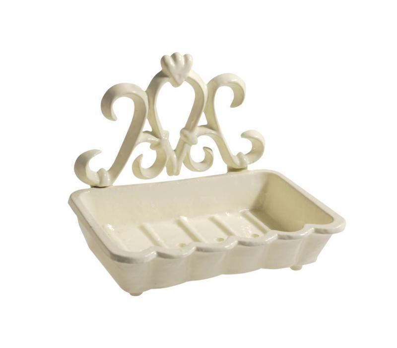 Au Bain de Marie large soap dish 15x11xH12 cm, aluminum, creme