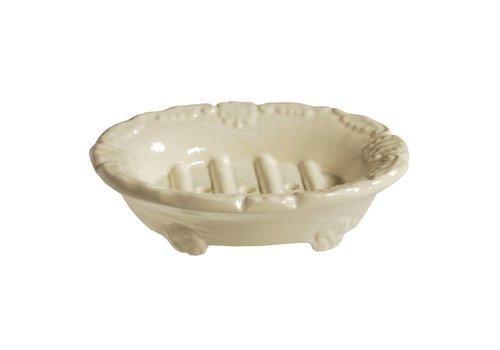 Au Bain de Marie Soap Dish Oval 14x11xH3 cm Aluminium, Ivory