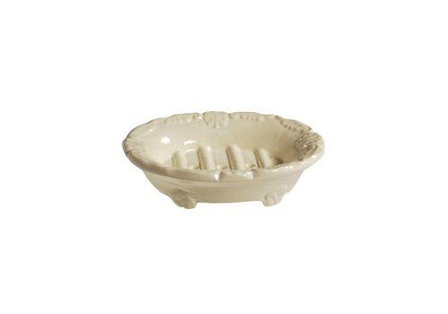 Au Bain de Marie Au Bain de Marie small oval soap dish 10x8xH3 cm, creme, aluminum