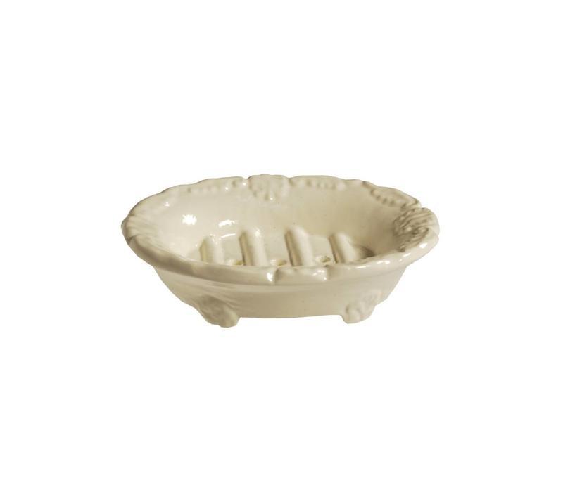 Au Bain de Marie Kleines Seifenschale Oval 10x8xH3 cm, Creme, Aluminium