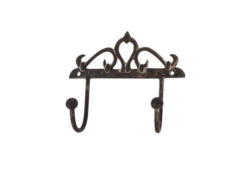 Au Bain de Marie Au Bain de Marie double hook 14xH13 cm iron antique finish