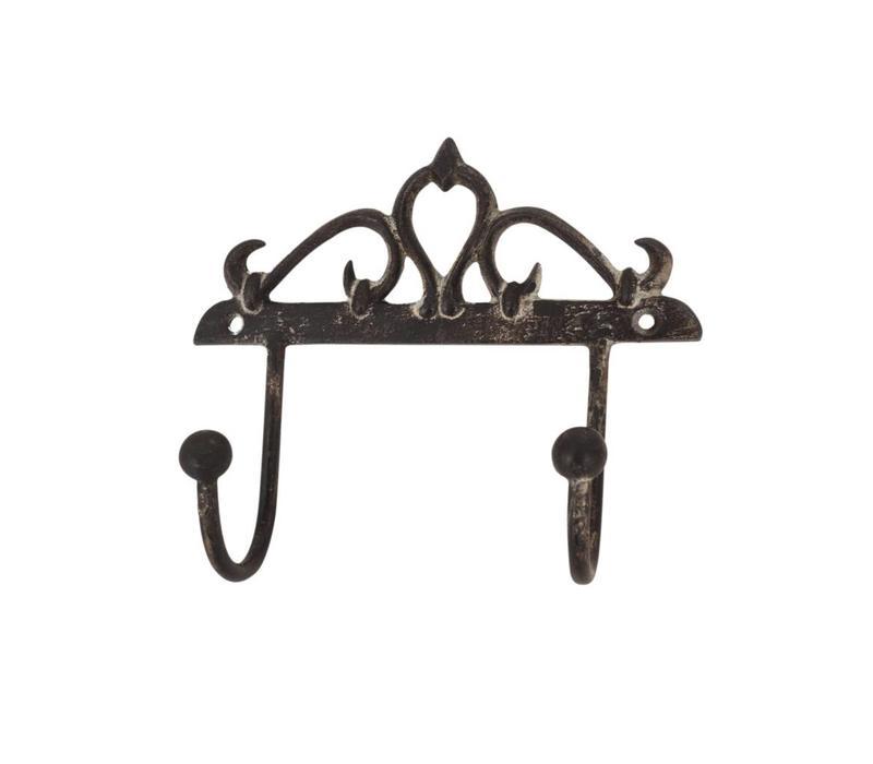 Au Bain de Marie double hook 14xH13 cm iron antique finish