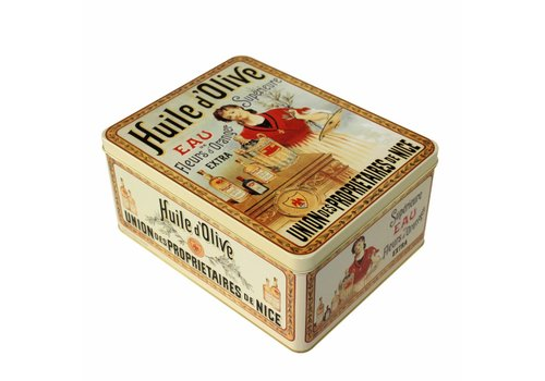French Classics Large storage tin made of metal Huile d'olive