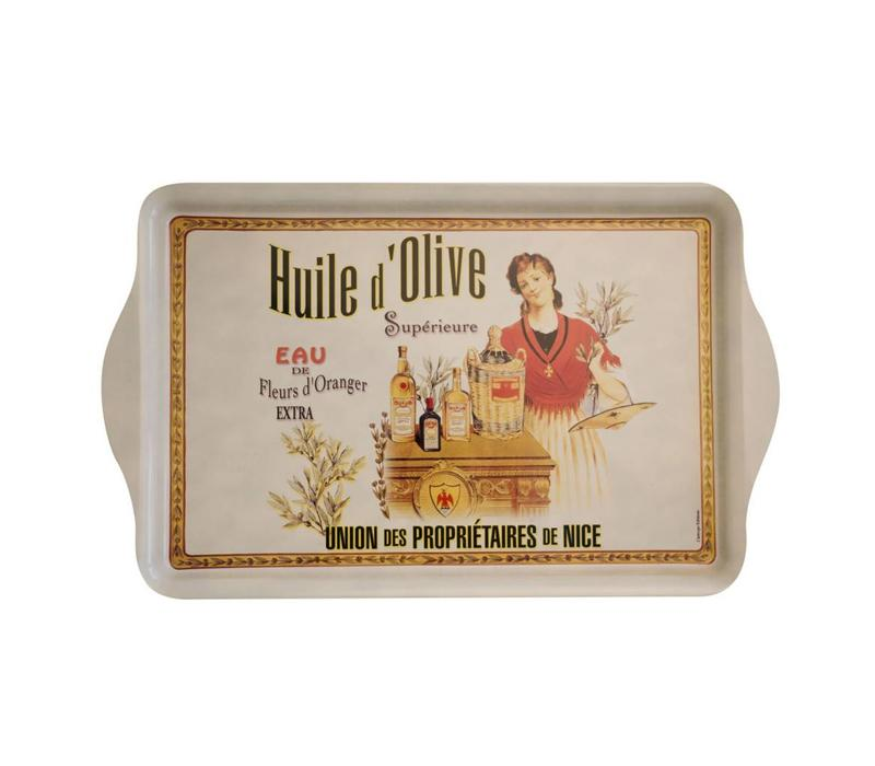 """French Classics Serving Tray Metal 20x33 cm """"Huile d'olive"""""""
