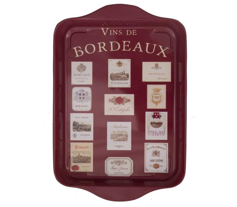 Miniserviertablett 21x14 cm Vins de Bordeaux Metall