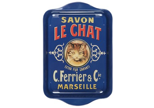 French Classics Mini Serviertablett 21x14cm Savon Chat Metall