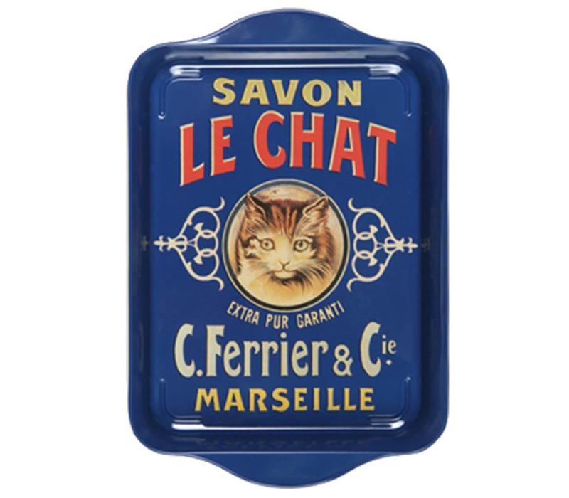 Mini Serviertablett 21x14cm Savon Chat Metall