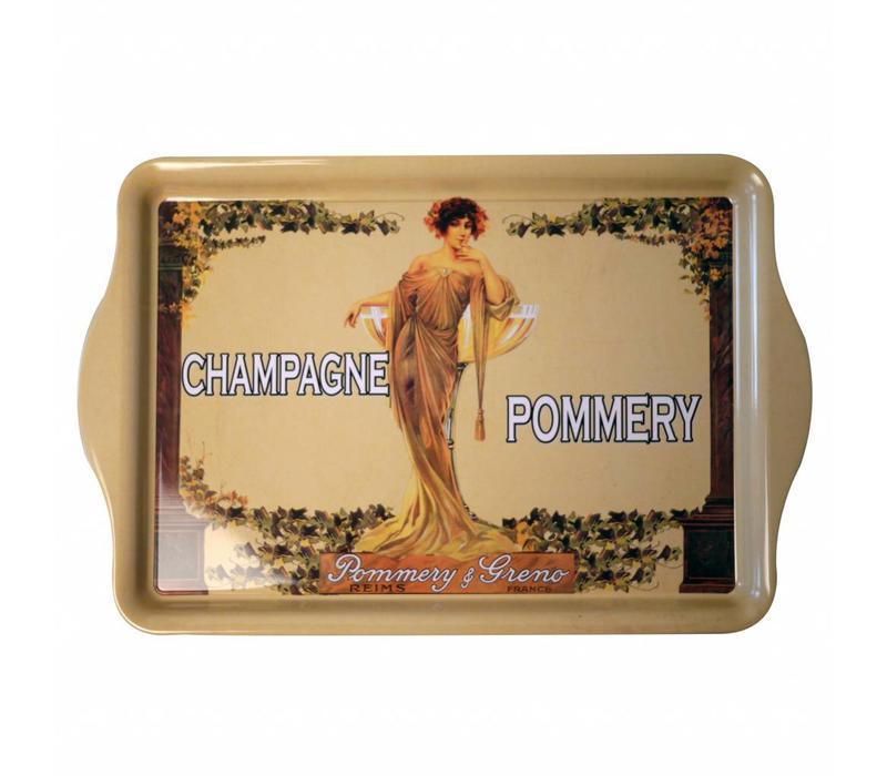 Miniserviertablett 21x14 cm Champagne Pommery Metall