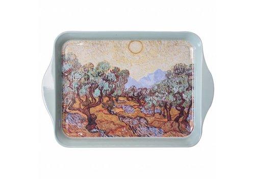 French Classics Mini Dienblad van Gogh Olijfbomen 14x21 cm Metaal