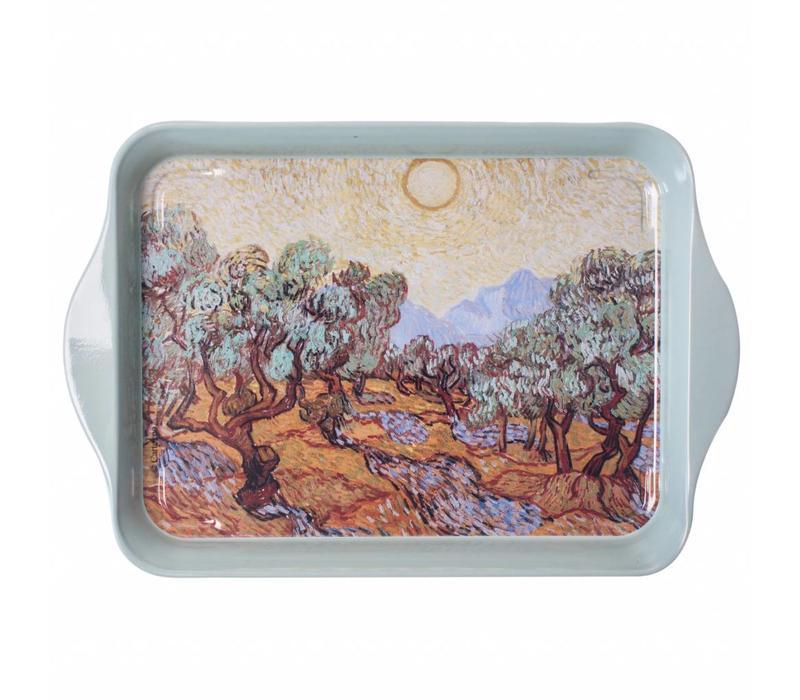 Miniserviertablett Van Gogh Olivenbäume 14x21cm Metall