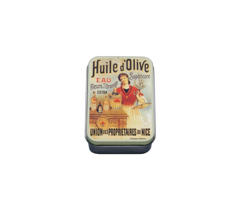 Miniblikje Huile d'olive 9,5x6xH2,7 cm Metaal