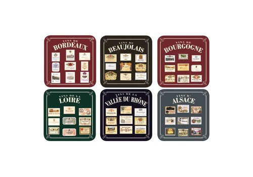 French Classics Set 6 Coasters Vins de France