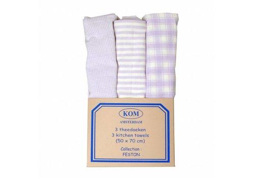 Kom Amsterdam 3 Kitchen Towels, Lilac 50x70 cm