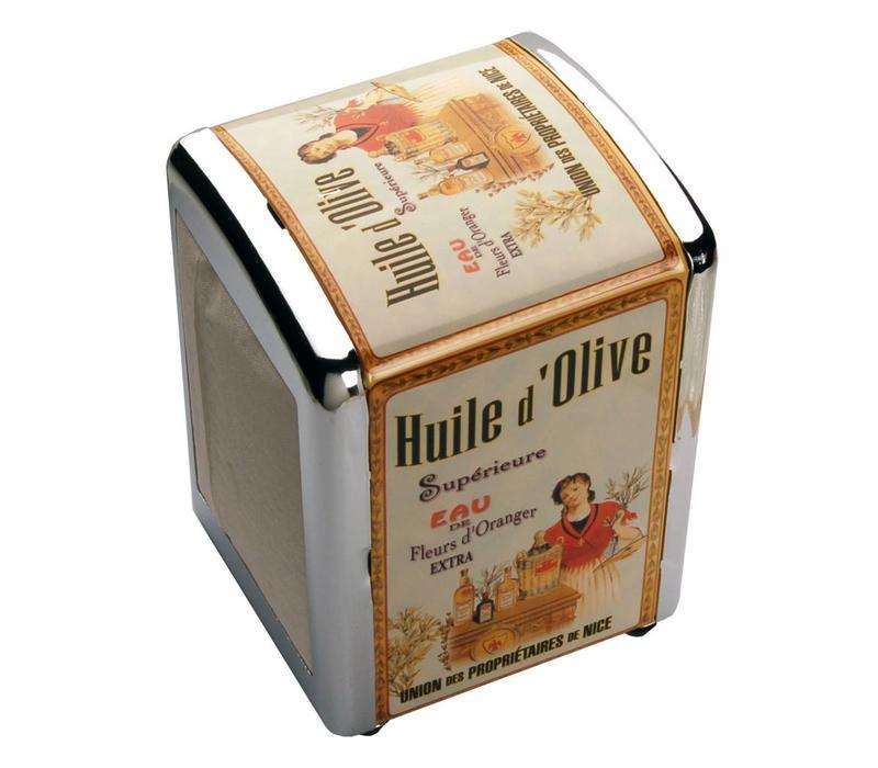 Serviettendisplay mit Servietten Huile d'olive Metall