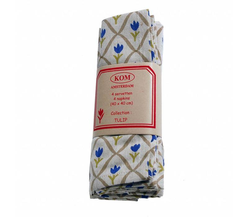 Set van 4 Servetten 40x40 cm Tulip, Blauw