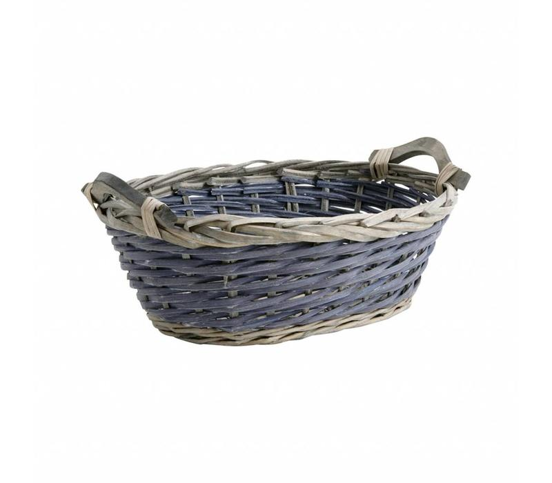 Basket Oval 40 cm Cane Blue/grey