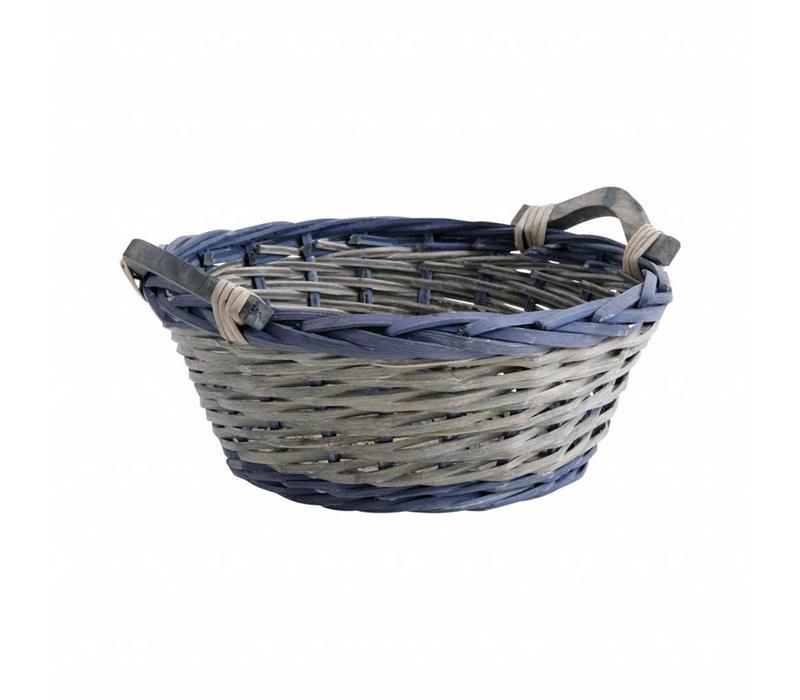 Basket Round ø33 cm Cane Blue/grey