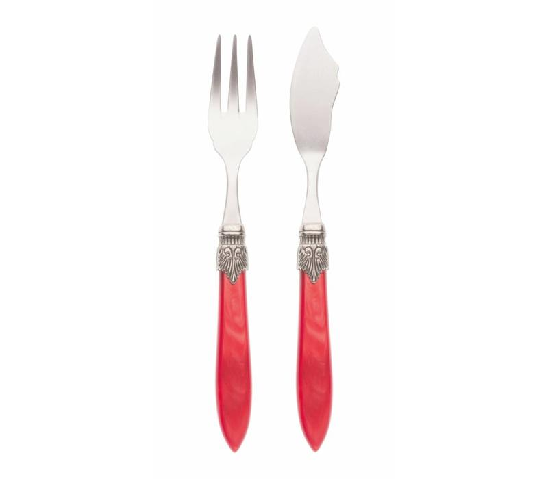 Fish Cutlery Set (2-piece) Murano, Red